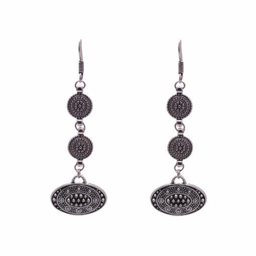 Ethnic Silver Discs Earrings 1