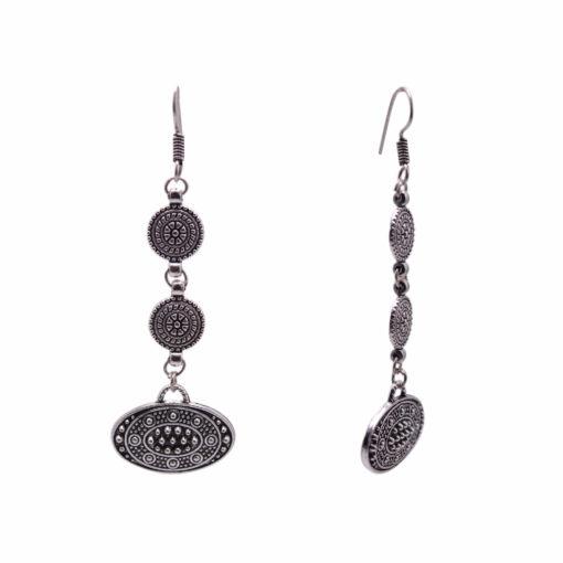 Ethnic Silver Discs Earrings 2
