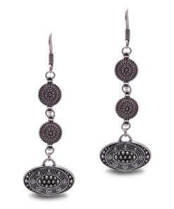 Ethnic Silver Discs Earrings