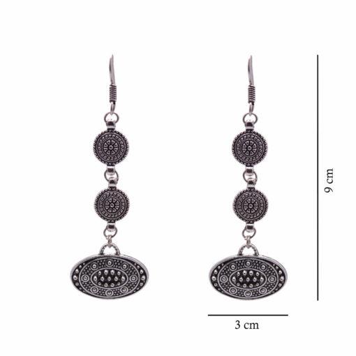 Ethnic Silver Discs Earrings 4
