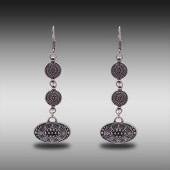 Ethnic Silver Discs Earrings 5