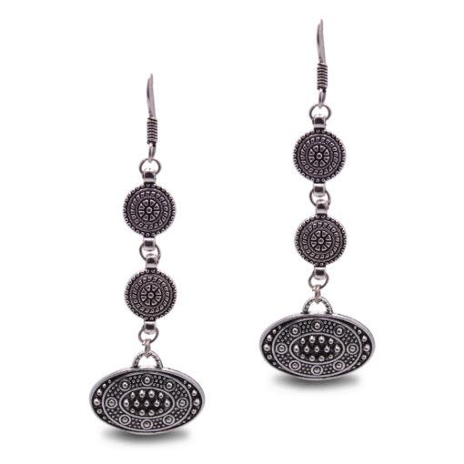 Ethnic Silver Discs Earrings