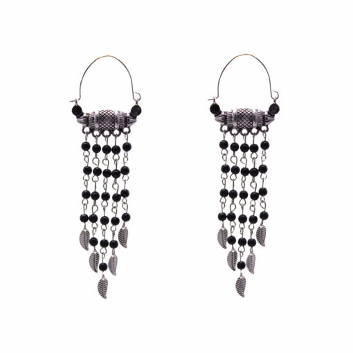 Ethnic Silver and Bead Chains Earrings 1