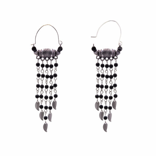 Ethnic Silver and Bead Chains Earrings 2