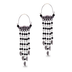 Ethnic Silver and Bead Chains Earrings