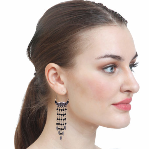 Ethnic Silver and Bead Chains Earrings 3