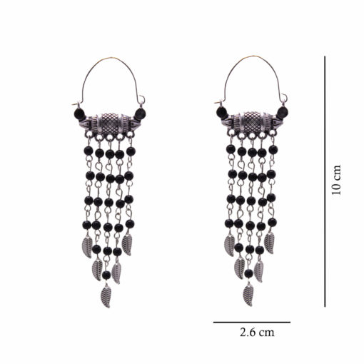 Ethnic Silver and Bead Chains Earrings 4