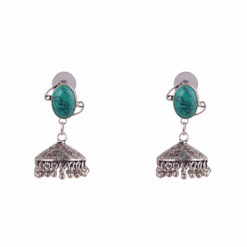 Floral engraved Turquoise Jhumka 01