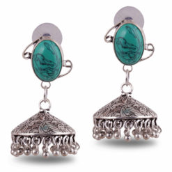 Floral engraved Turquoise Jhumka
