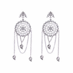 Flower Power Layered Silver Leaf Earrings 1