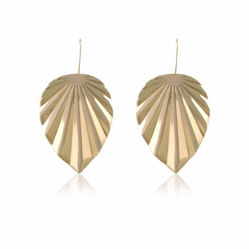Funky Golden Leaves Earrings 01