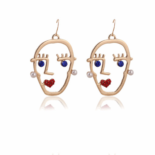 Funky Stone Studded Golden Heads Earrings 01