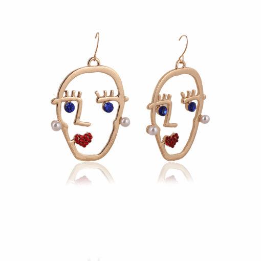 Funky Stone Studded Golden Heads Earrings 02