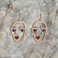 Funky Stone Studded Golden Heads Earrings 05