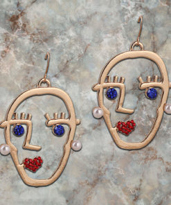 Funky Stone Studded Golden Heads Earrings