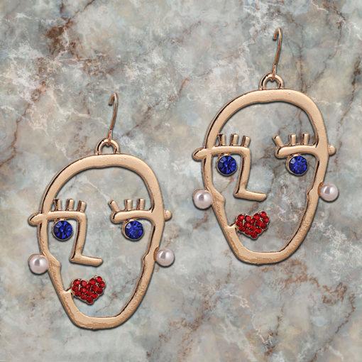 Funky Stone Studded Golden Heads Earrings