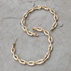 Golden Chain Link Hoops Earrings