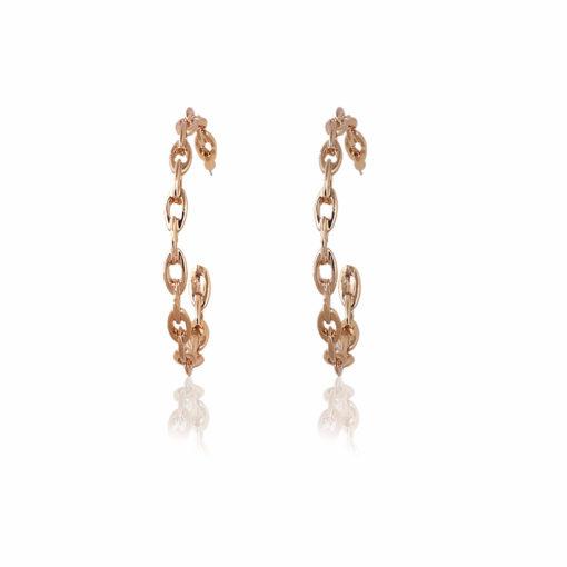 Golden Chain Link Hoops earrings 01