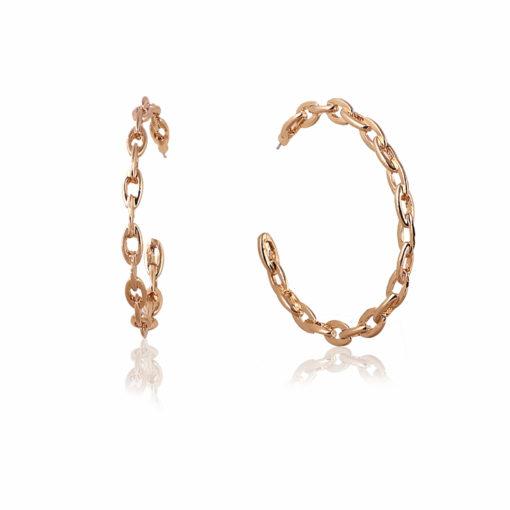 Golden Chain Link Hoops earrings 02