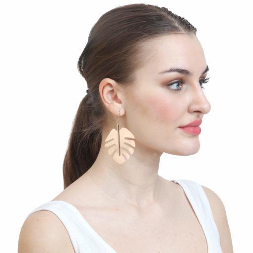 Golden English Oak Leaves Earrings 03
