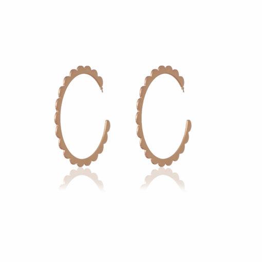 Golden Flower Cut Hoops Earrings 01