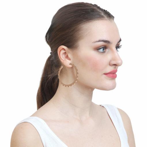 Golden Flower Cut Hoops Earrings 03