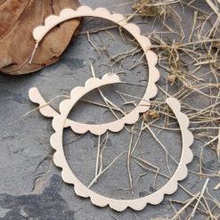 Golden Flower Cut Hoops Earrings 05