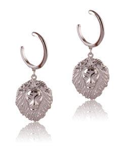 Hanging Silver Lions Earrings