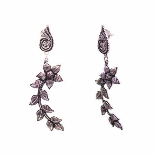 Peacock Floral Curves Earrings 01