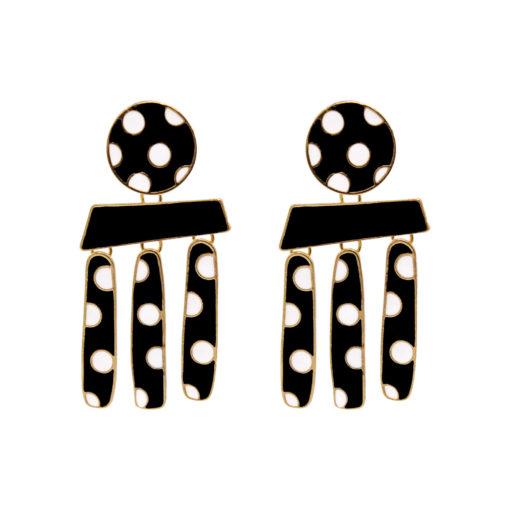 Polka Dots on Gold Earrings 1