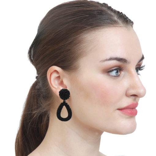 Quirky Black Rubber Jhumkas Earrings 3