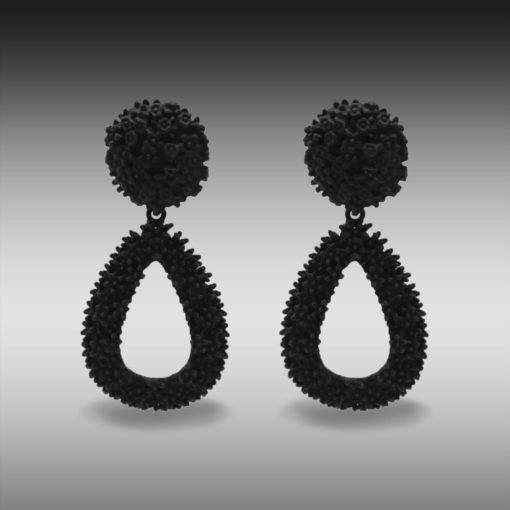Quirky Black Rubber Jhumkas Earrings 5