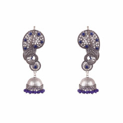 Regal Indigo Peacocks Jhumka Earrings