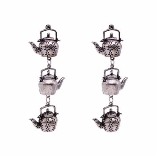Silver Dangling Kettles earrings 1