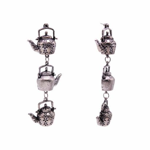 Silver Dangling Kettles earrings 2