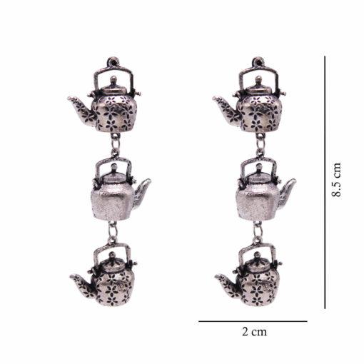 Silver Dangling Kettles earrings 4