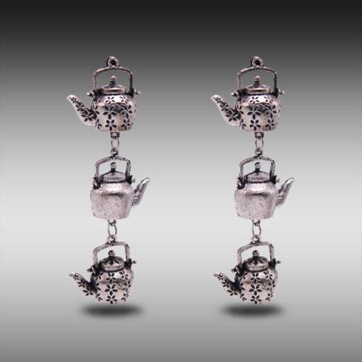Silver Dangling Kettles earrings 5