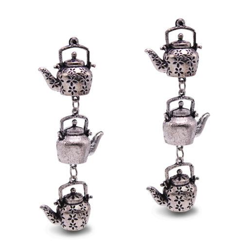 Silver Dangling Kettles earrings