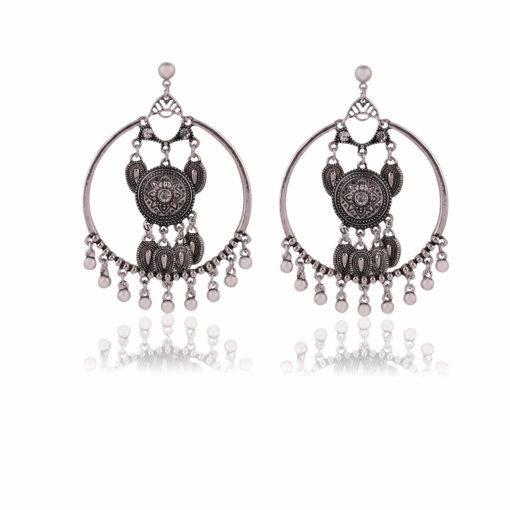 Silver Dreamcatchers Hoops Earrings 01