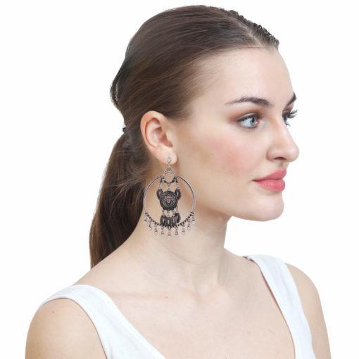 Silver Dreamcatchers Hoops Earrings 03