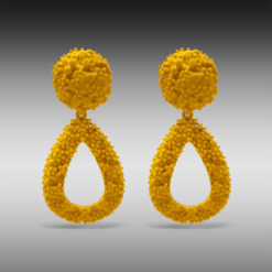 Summery Yellow Painted Jhumkas Earrings 4