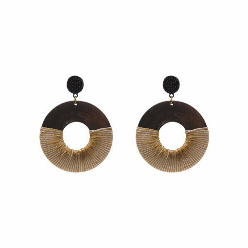 Wood Polish Quirky Solid Hoops Earrings 1