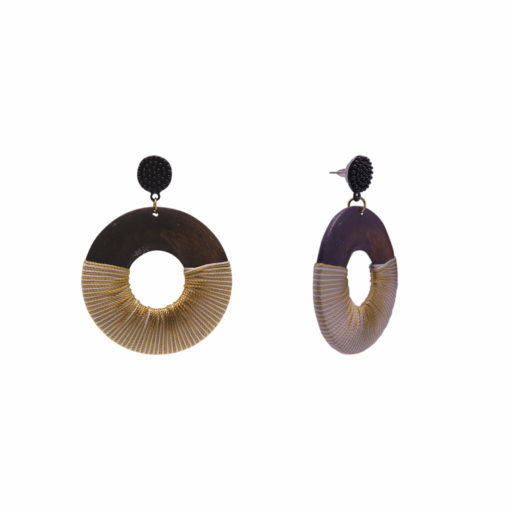 Wood Polish Quirky Solid Hoops Earrings 2