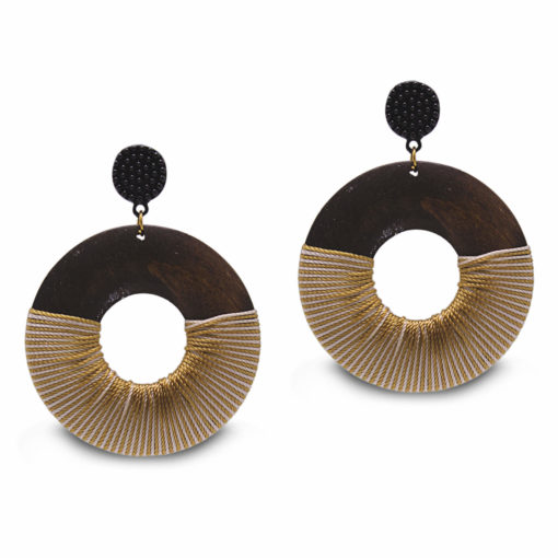 Wood Polish Quirky Solid Hoops Earrings